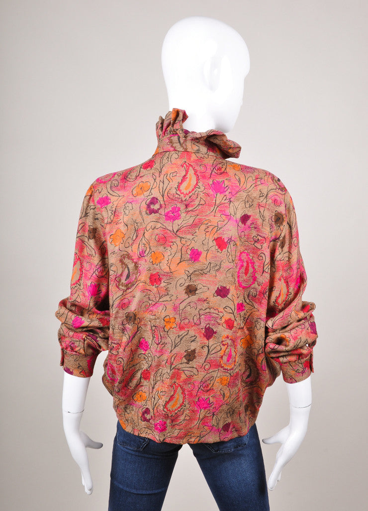 Taupe, Pink, and Orange Floral Print Bubble Hem Wool and Silk Blouse