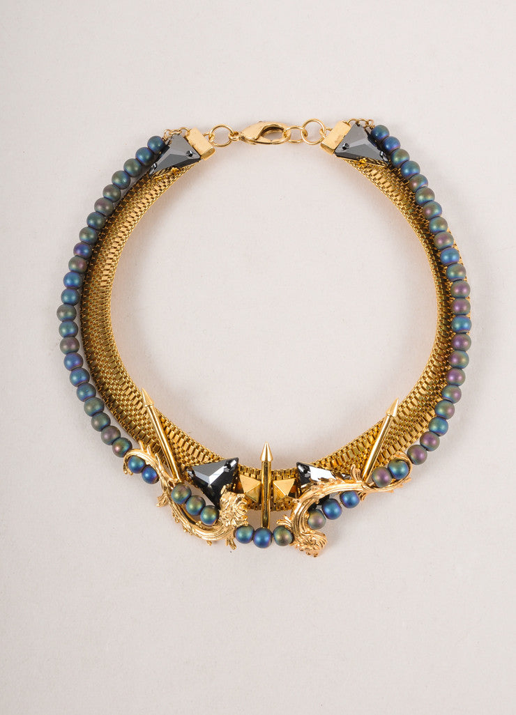 New In Box Gold Toned and Blue Lion's Foot Spiked Collar Necklace