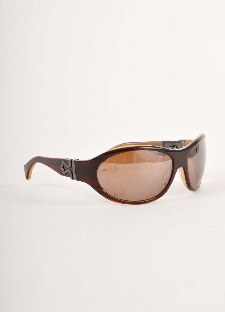 Brown Embellished Shield Sunglasses