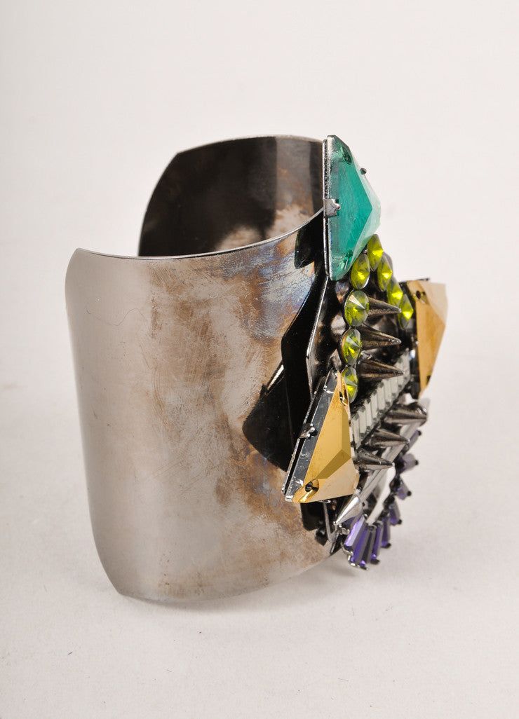 New Grey and Multicolor Chunky Geometric Gem Embellished Cuff Bracelet