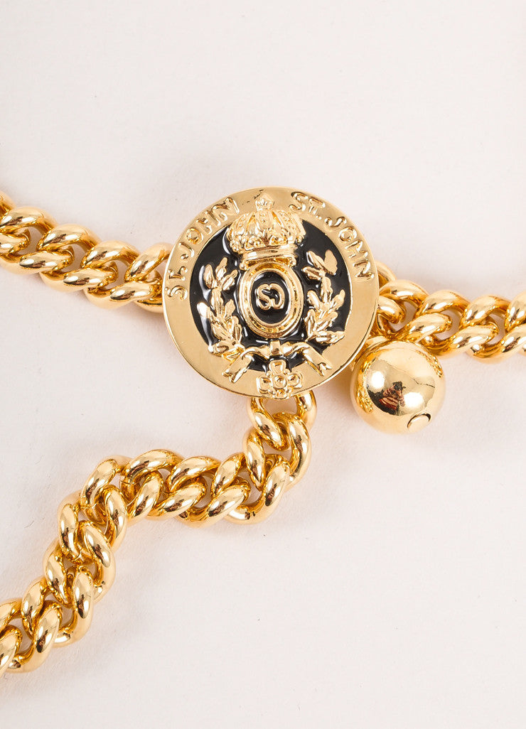 Gold Toned Saint John Chain Link Medallion Belt
