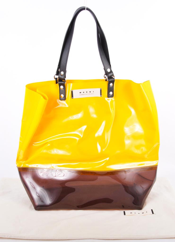 New With Tags Yellow and Brown Patent Colorblock Tote Bag