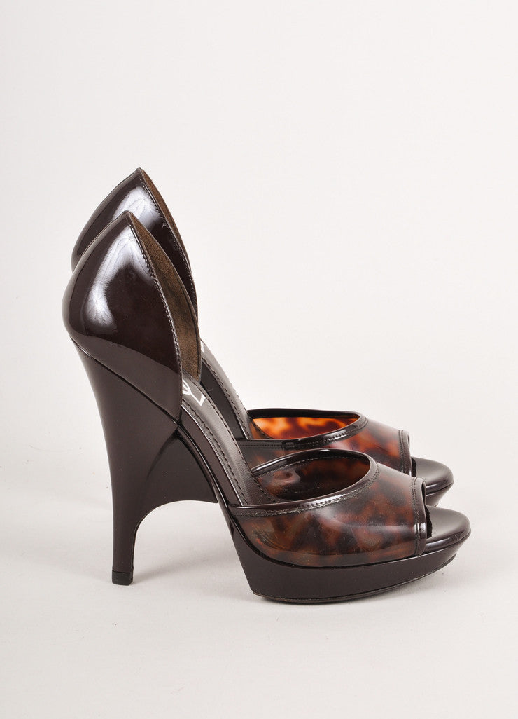 Brown Tortoise Print Peep Toe Pumps