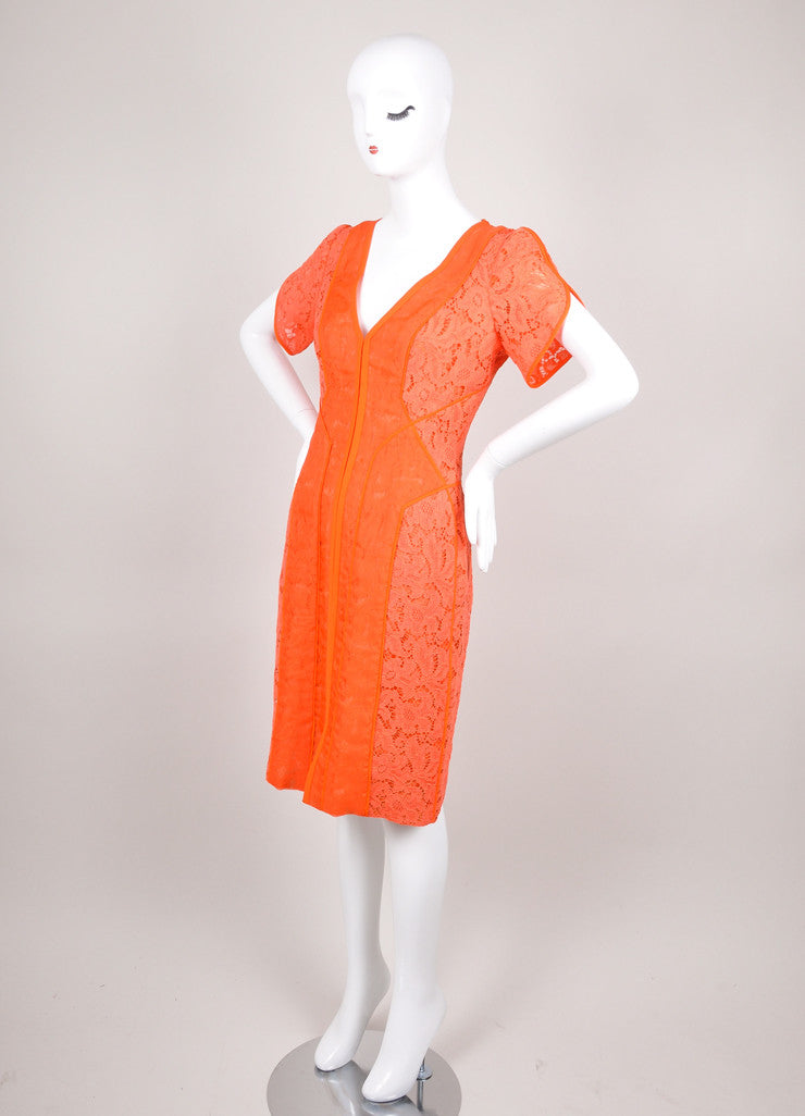 Orange J. Mendel Paneled Short Sleeve Lace Dress