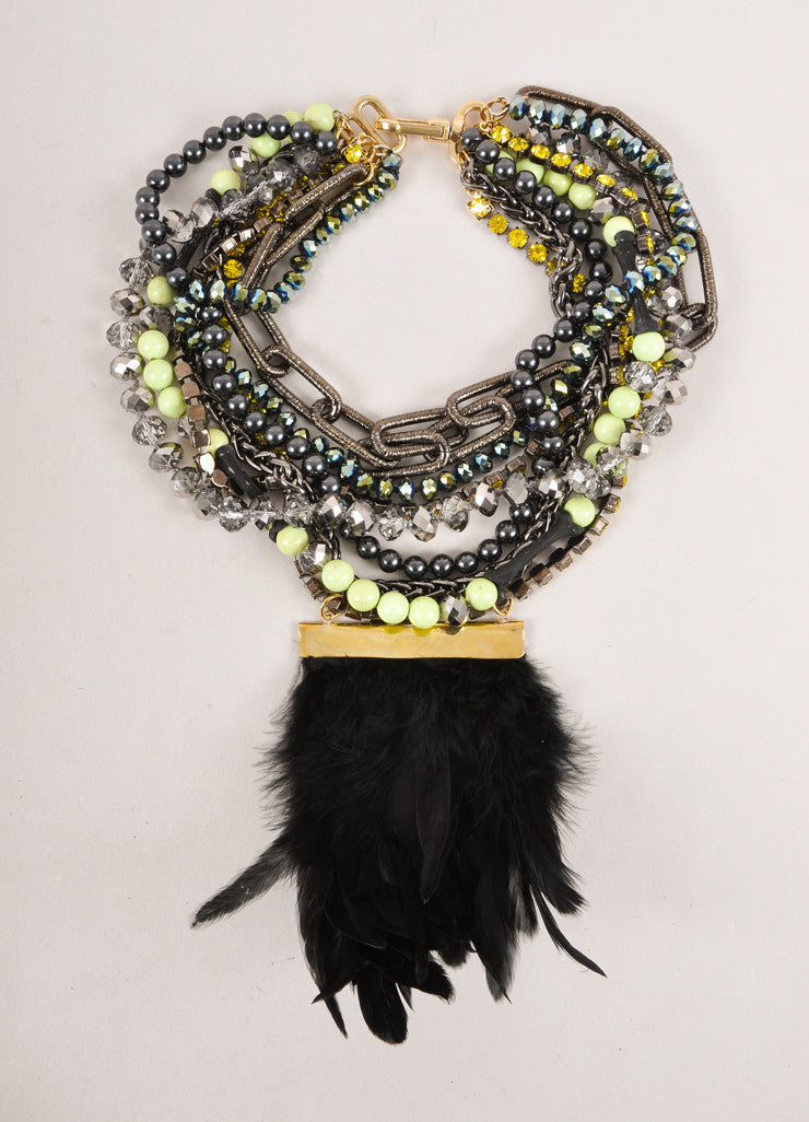 New Multicolor Multi-strand Bead, Rhinestone, and Chain Feather Bib Necklace