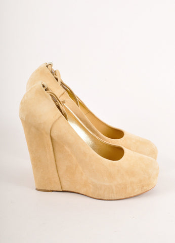 Beige Giuseppe Zanotti Suede Leather Ankle Tie Platform Wedges