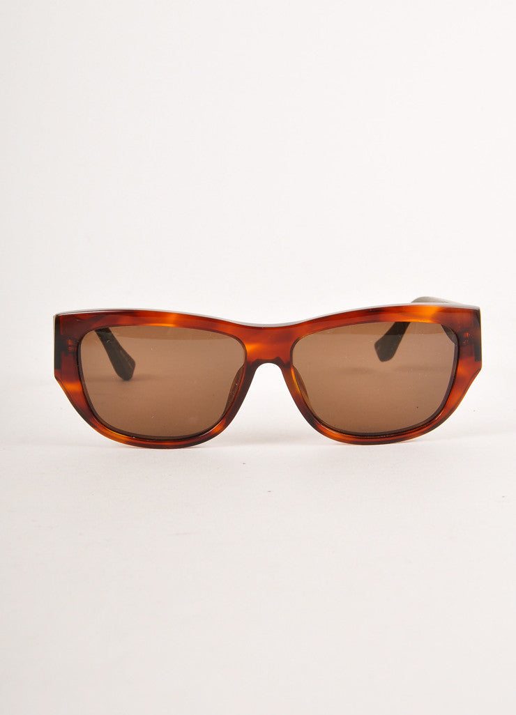 Brown and Green Tortoiseshell and Leather Sunglasses