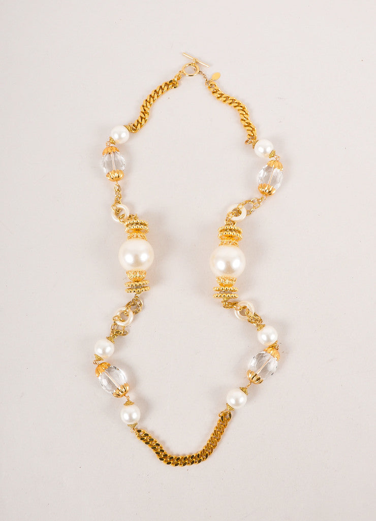 Gold Toned, Cream, and Clear Chunky Faux Pearl and Bead Sautoir Necklace