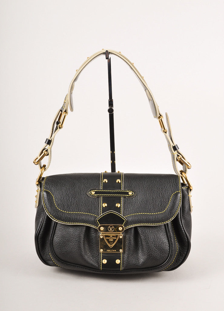 Louis Vuitton Black Goat Leather Studded Suhali Le Confident Shoulder Bag Frontview