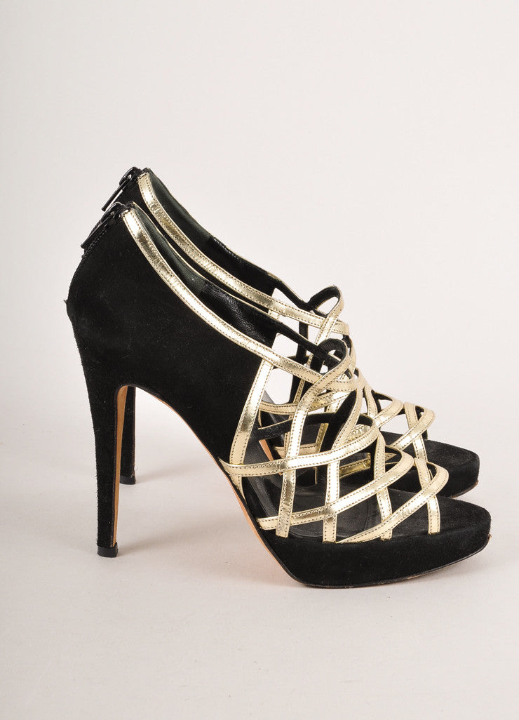 Black Suede and Gold Leather Strappy Sandal Heels