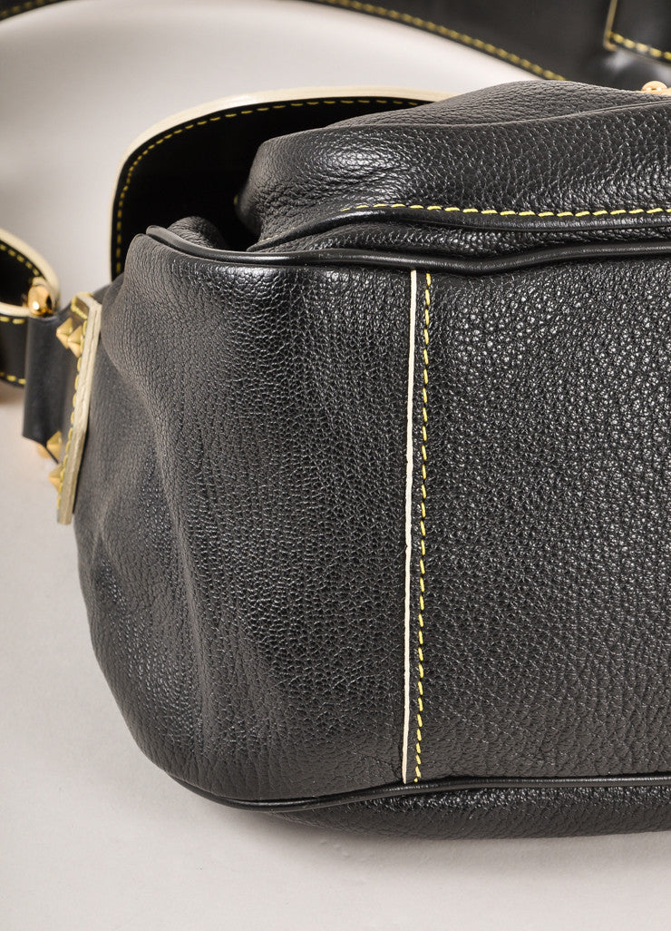 Louis Vuitton Black Goat Leather Studded Suhali Le Confident Shoulder Bag Detail