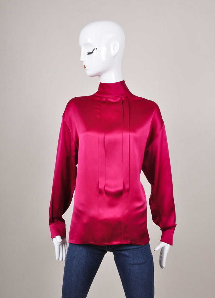Fuschia Three Quarter Length Sleeve Button Down Blouse