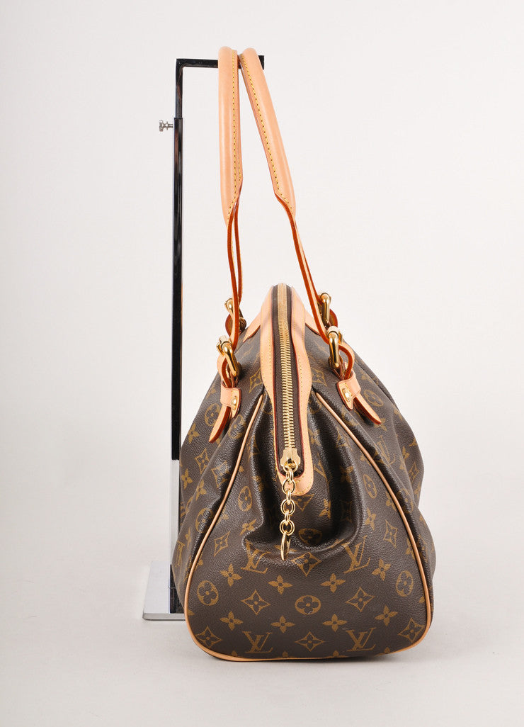 "New With Tags Brown Monogram Canvas ""Trivoli GM"" Pleated Shoulder Bag"