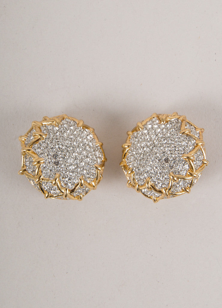 Gold and Silver Rhinestone Embellished Sunflower Earrings