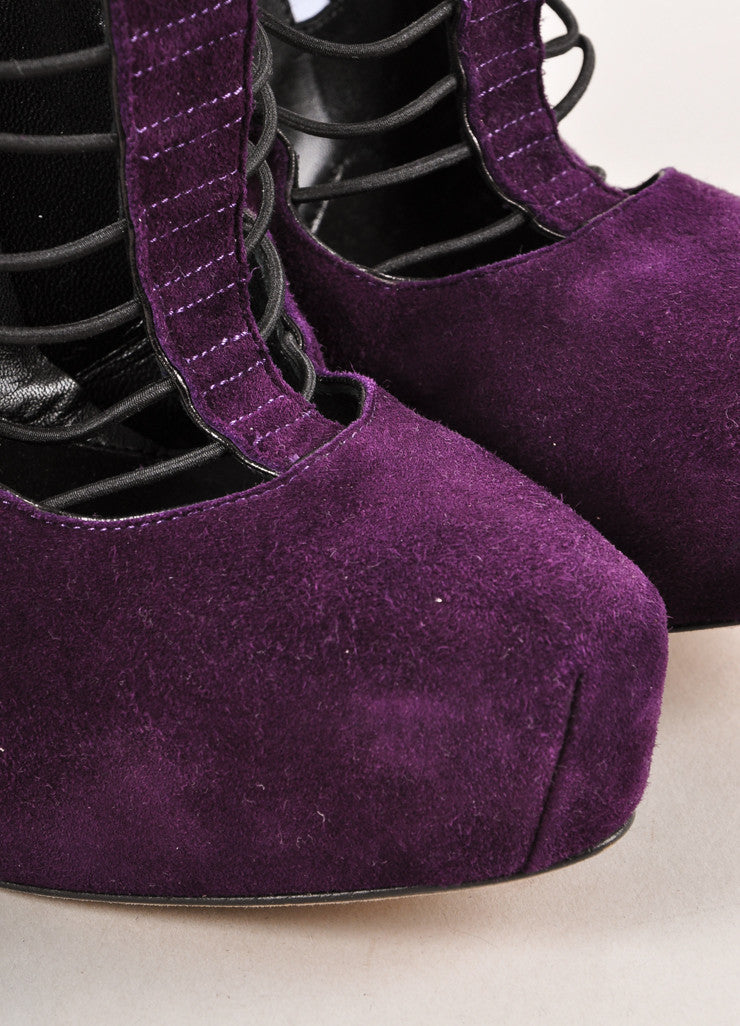 Purple and Black Brian Atwood Suede Leather and Strappy Elastic Platform Pumps