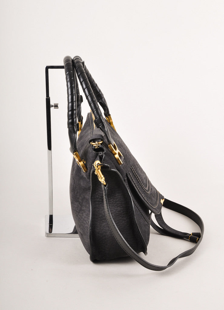 "Black Leather Medium ""Marcie"" Tote Bag With Shoulder Strap"