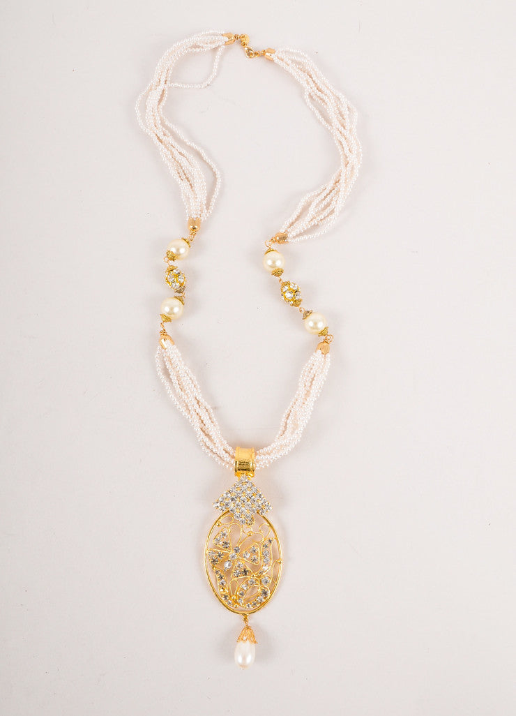 Faux Pearl and Gold Toned Rhinestone Pendant Necklace