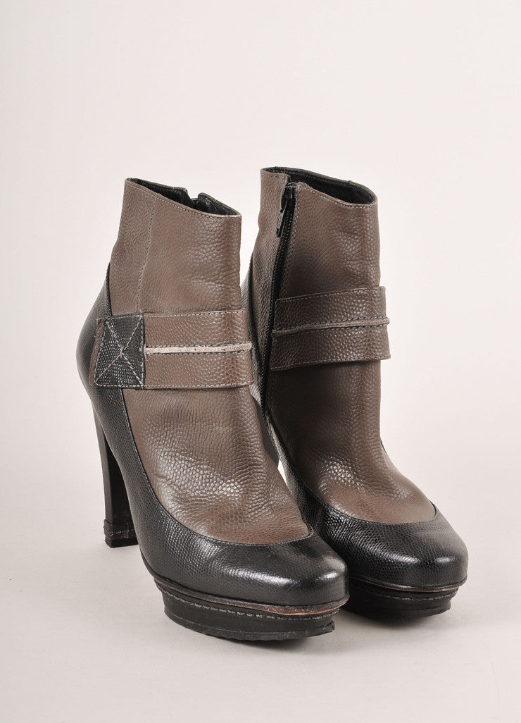 Max Azria Brown and Black Colorblock Reptile Leather Heeled Ankle Booties Frontview
