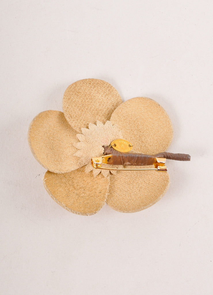 Tan Leather Floral Pin