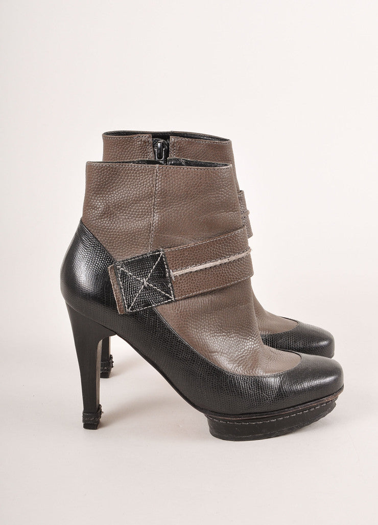 Max Azria Brown and Black Colorblock Reptile Leather Heeled Ankle Booties Sideview