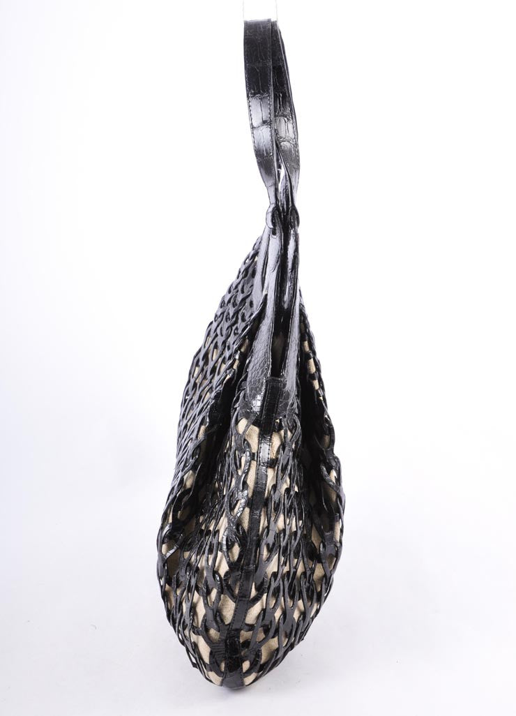 Black Crocodile Leather Woven Shoulder Bag