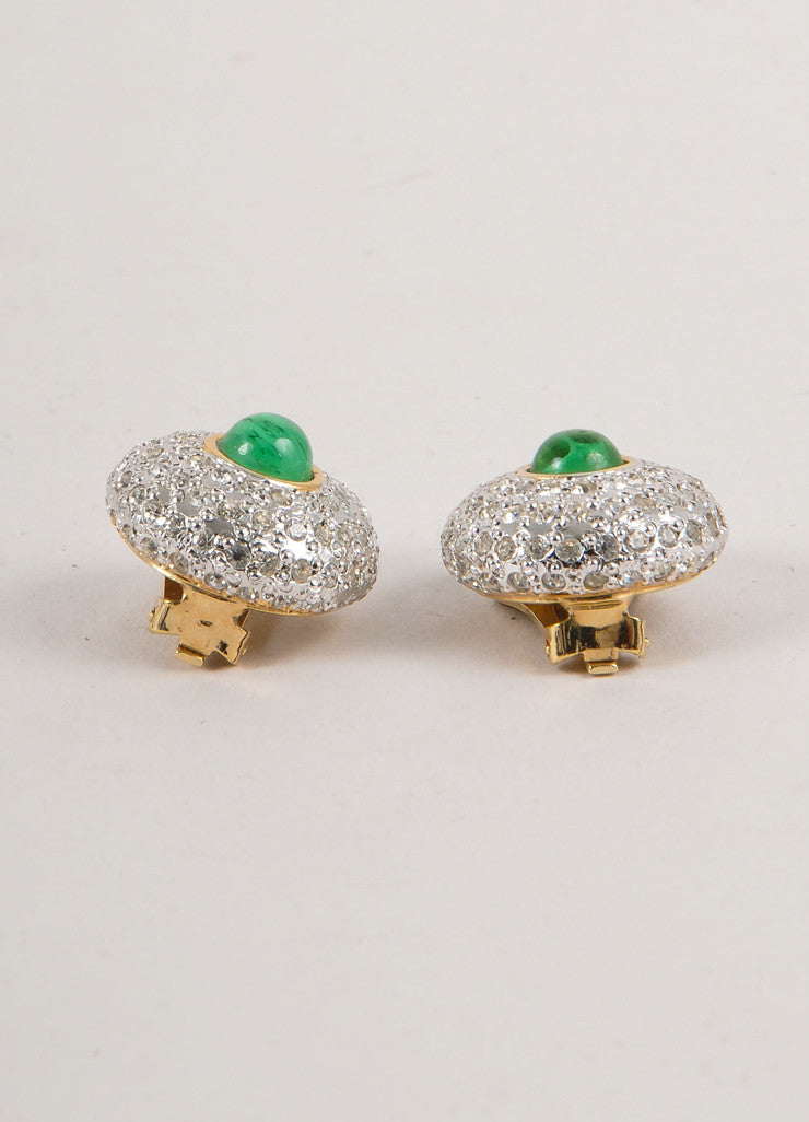 Gold, Silver, and Green Rhinestone Embellished Round Earrings