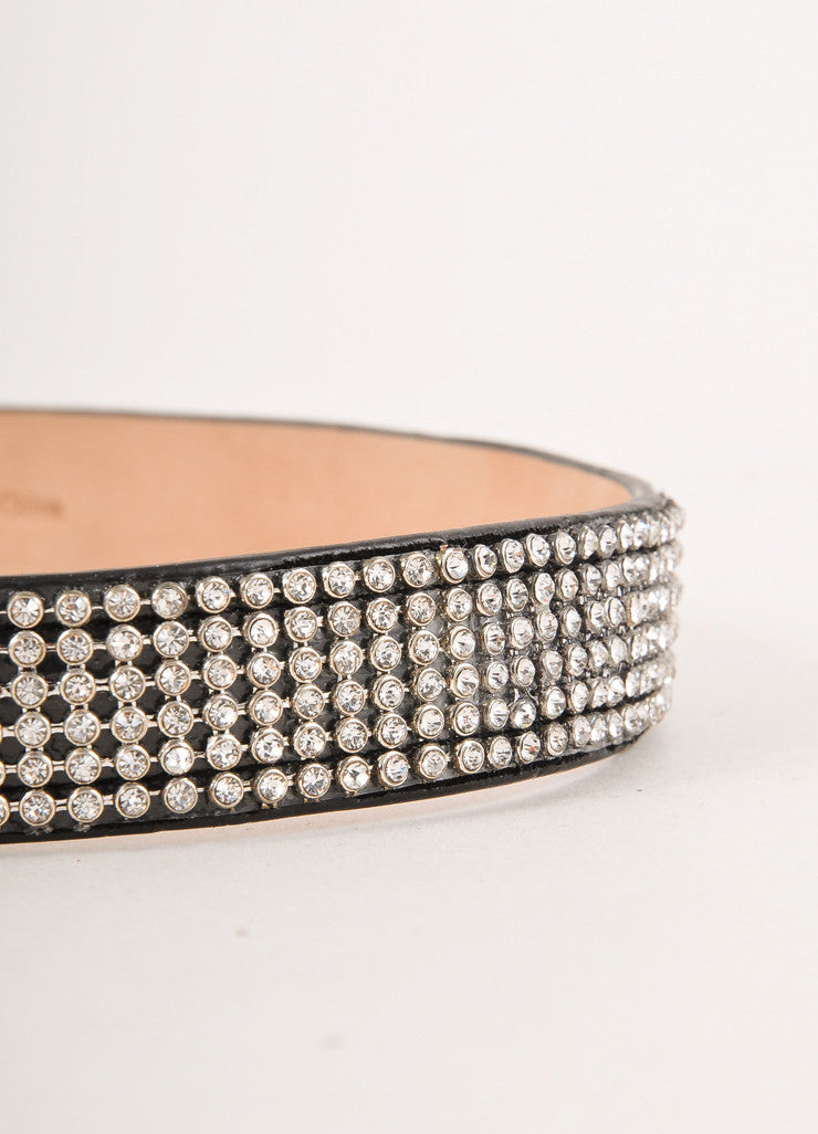 "Black Rhinestone Studded ""Cassiopea"" Leather Waist Belt"