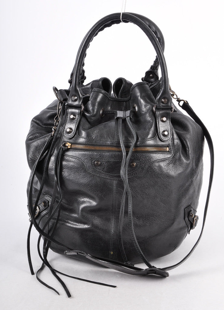 "Black Leather Crossbody ""Arena Classic Pompon"" Bucket Bag"