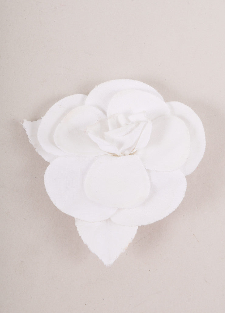 White Fabric Floral Pin