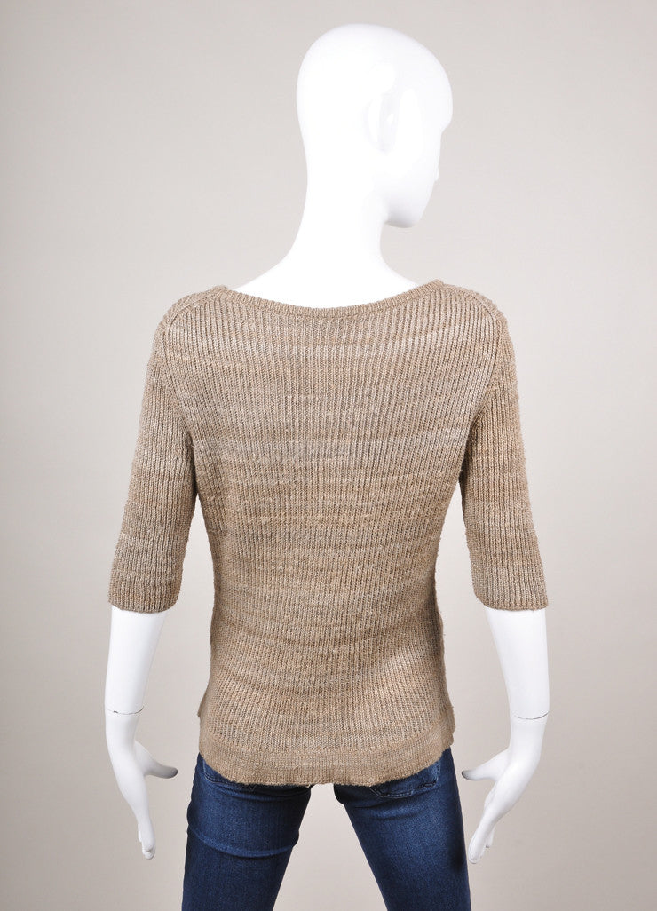Grey and Taupe Ribbed Knit Three Quarter Sleeve Silk Henley Sweater