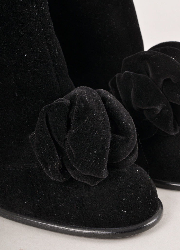 Black Velvet Camellia Heeled Zip Booties