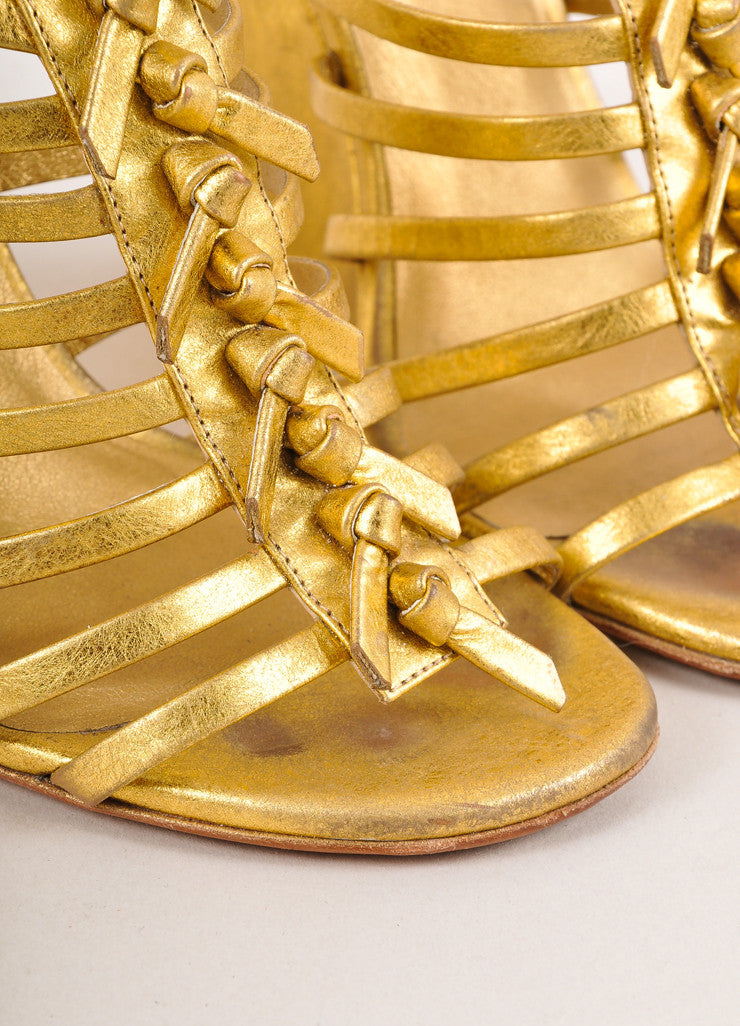 "Gold Strappy Leather ""Trybal"" Wedge Sandals"