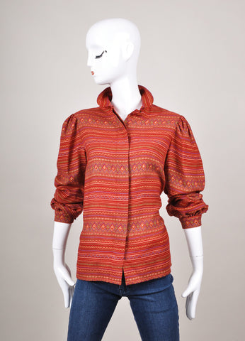 Red and Orange Lanvin Geometric Patterned Long Sleeve Button Up Blouse