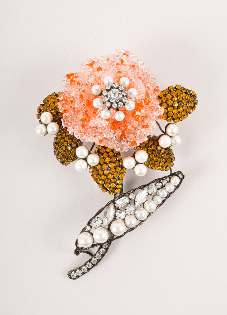 Orange, Faux Pearl, and Rhinestone Large Flower Pin