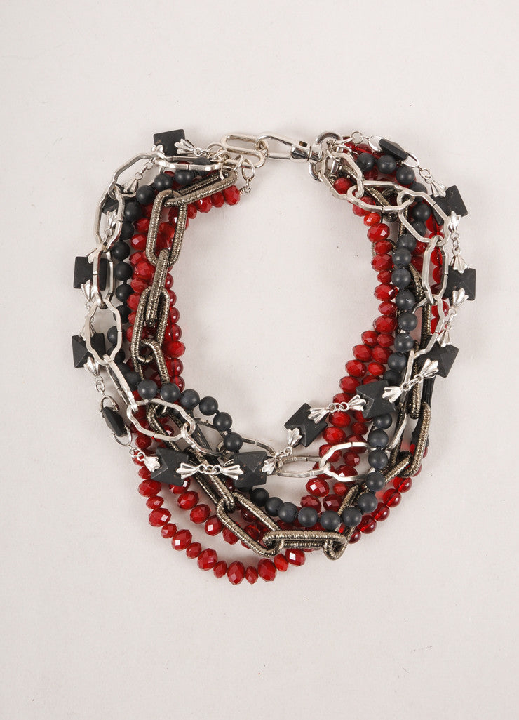 Fenton Dark Red and Black Multi-strand Chain, Bead, and Stud Choker Necklace