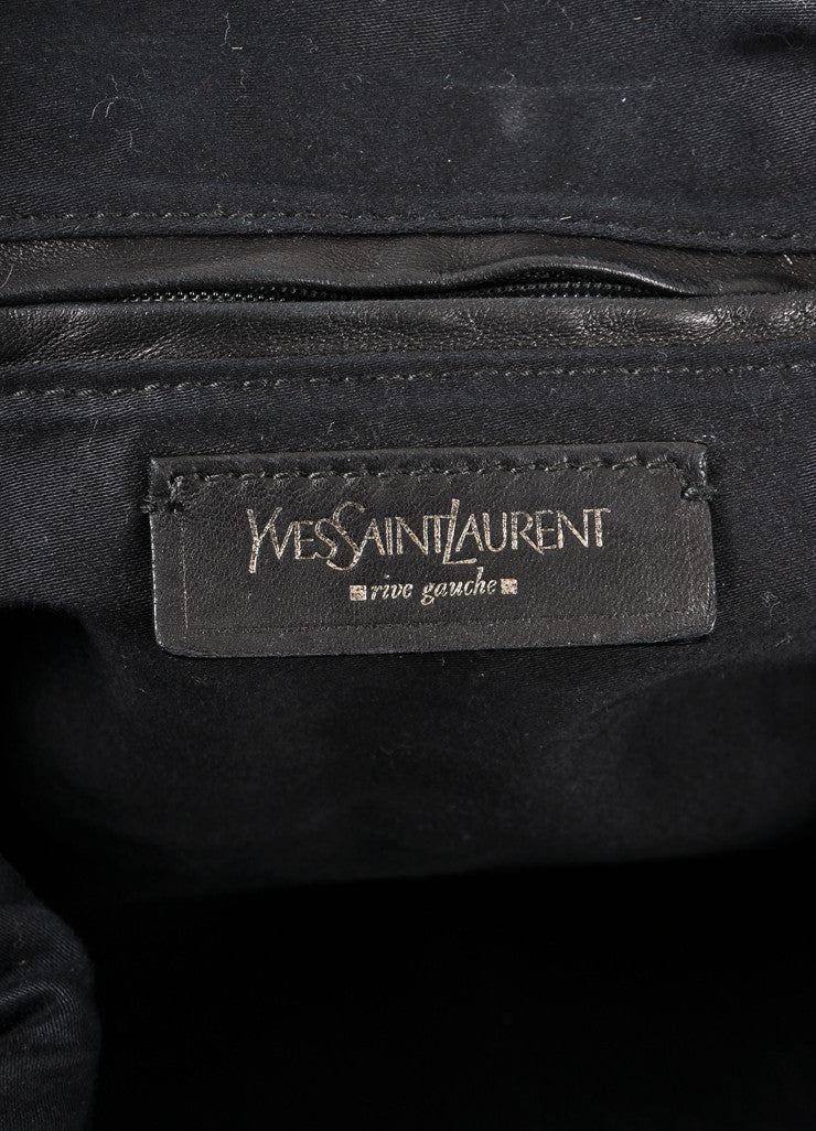 "Yves Saint Laurent Black Embossed Patent Leather ""Easy Y"" Top Handle Bag"