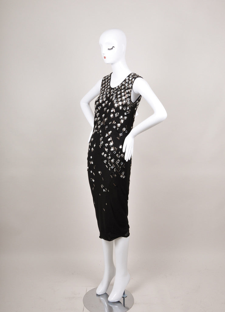 Black and Silver Lanvin Jewel and Bead Embellished Wool Dress