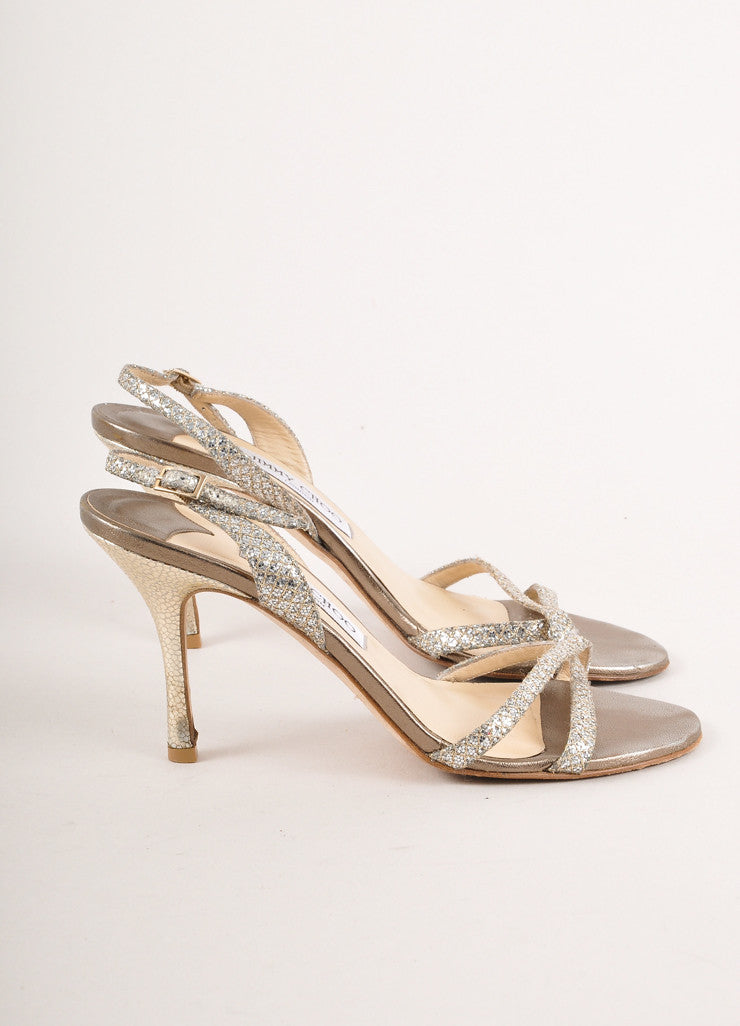 "Silver Jimmy Choo Glitter Strappy High Heel ""India"" Sandals"