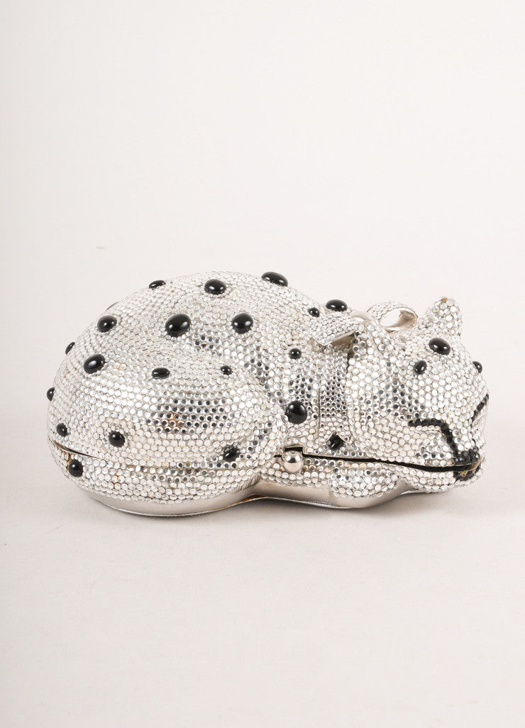 Silver and Black Rhinestone Cat Minaudiere Clutch