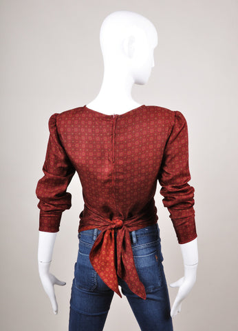 Dark Red Valentino Patterned Long Sleeve Wrap Tie Blouse