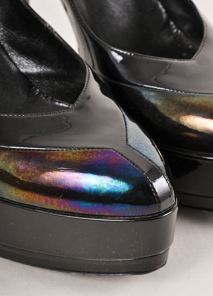 Black and Multicolor Oilslick Platform Pumps