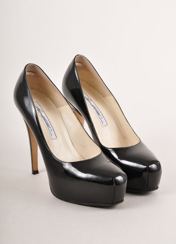 "Black Brian Atwood Patent Leather ""Maniac"" Platform Pumps"