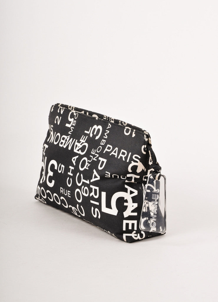 Black and White Printed Canvas Zip Pouch