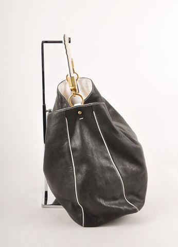 Black and Cream Slouchy Leather Tote Bag