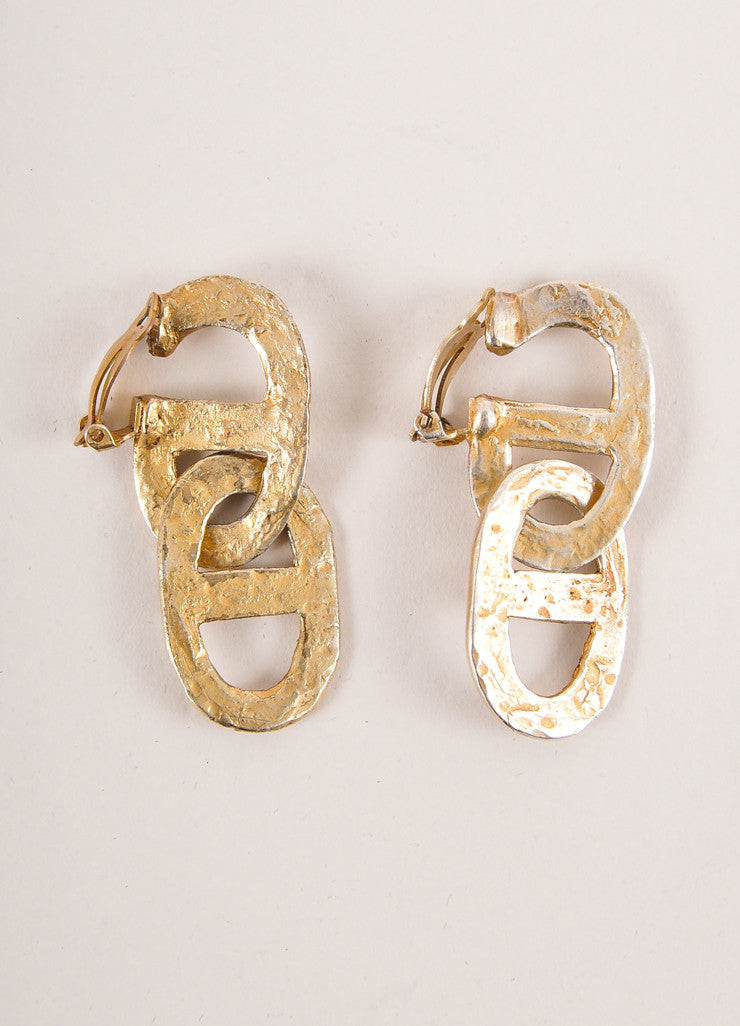 Hermes Gold Toned Hammered Link Earrings Frontview