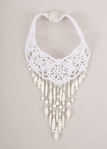 New With Tags White Crochet Knit Beaded Statement Chocker Necklace