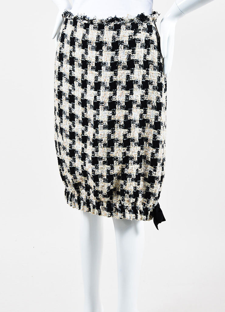 Cream and Black Chanel Checkered Tweed Bow Bubble Skirt Sideview