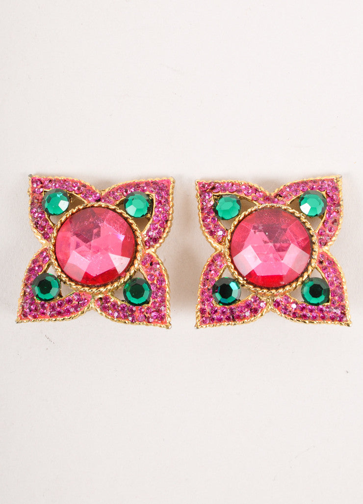 Gold, Pink, and Green Gemstone Earrings