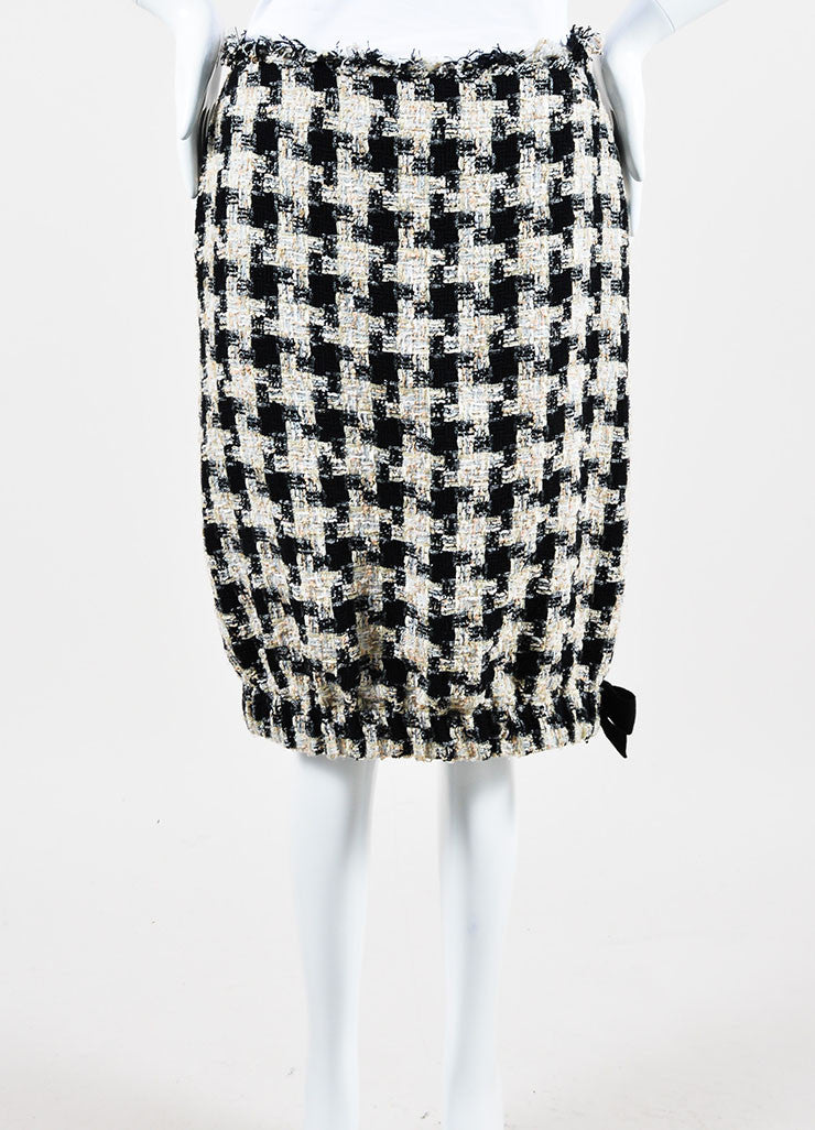 Cream and Black Chanel Checkered Tweed Bow Bubble Skirt Frontview