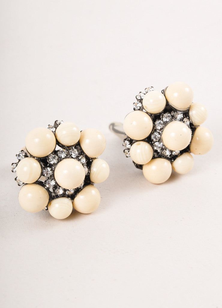 Cream Bead and Rhinestone Earrings